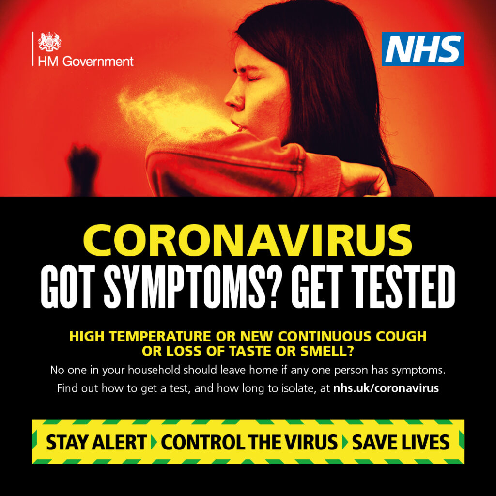 Got Symptoms? Get Tested! NHS Poster urging symptomatic people to get tested for COVID 19